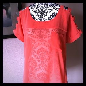 Tops - Orange sheer shirt